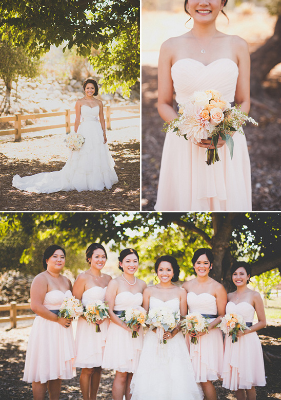 soft peach bridesmaids dresses @weddingchicks