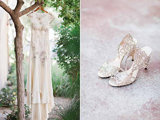 romantic wedding gown and shoes