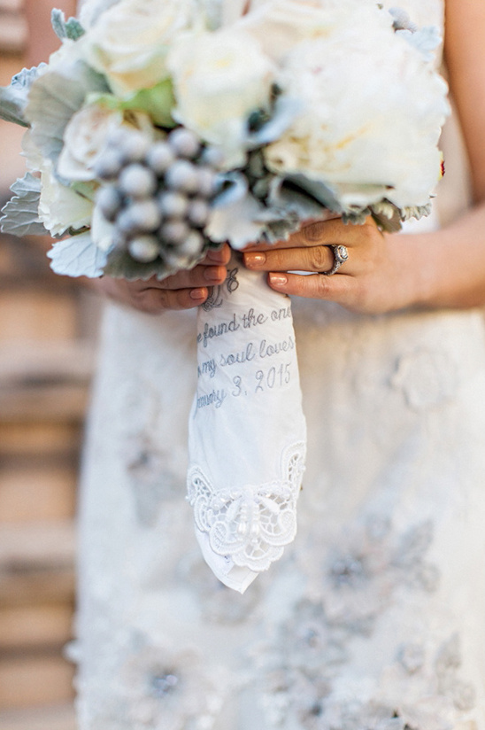 embroidered handkerchief bouquet wrap