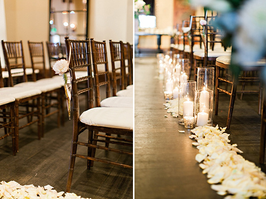 rose petal lined aisle