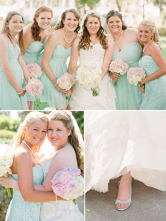 Teal bridesmaid dresses with pink bouquets @weddingchicks