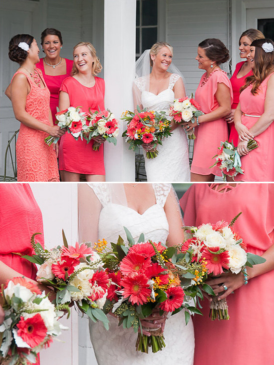 peach bridesmaid dresses @weddingchicks