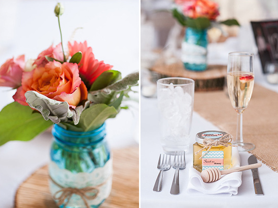 peachy pink floral centerpieces @weddingchicks