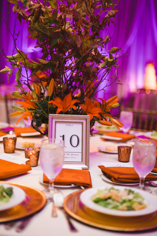 Purple Orange And Gold Reception Table Decor Weddingchicks