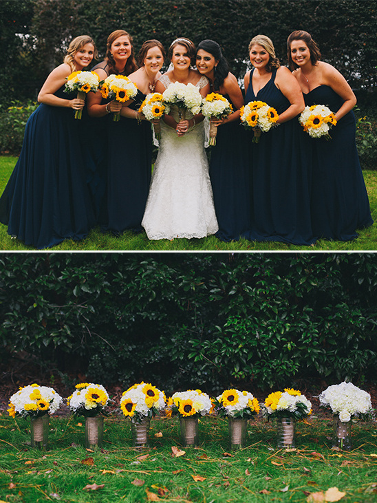Navy Bridesmaid Dresses With Sunflower Bouquets Weddingchicks