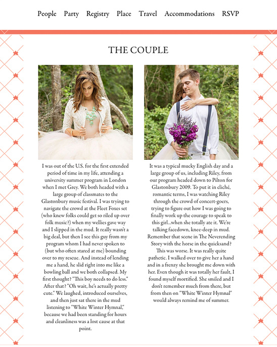 Customize a couple page on a wedding website from Riley & Grey. @weddingchicks