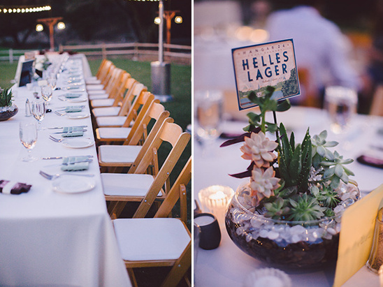 family style seating and succulent centerpiece @weddingchicks