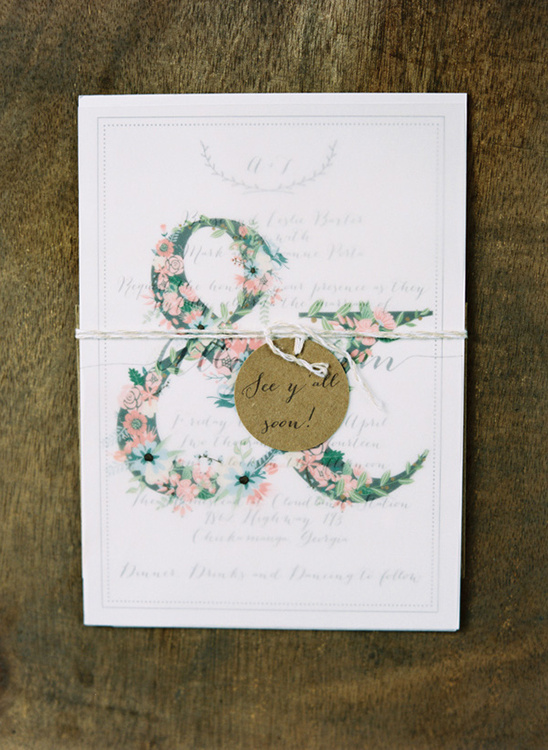 floral ampersand wedding stationery @weddingchicks