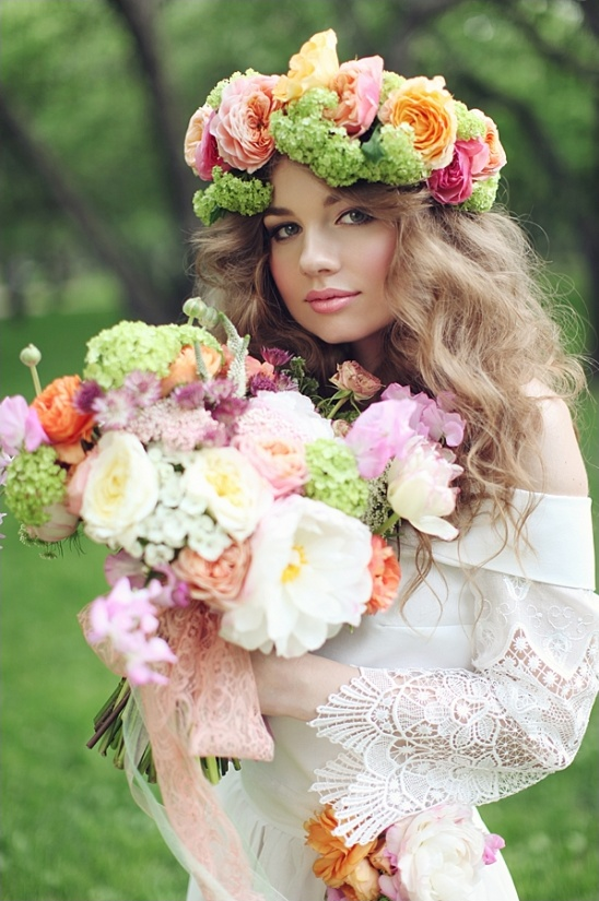 colorful floral crown by Blush Petals