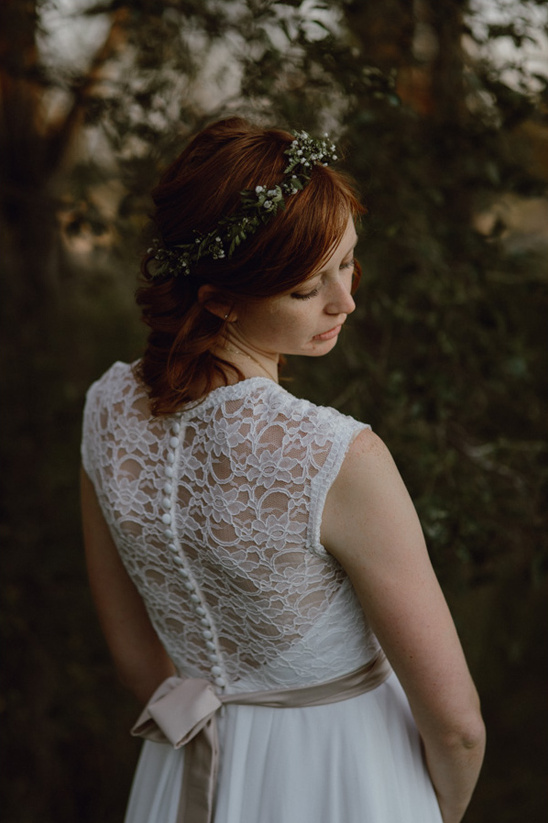 lace backed wedding dress from House of Brides and flower halo from Emily Rose Flower Crown @weddingchicks