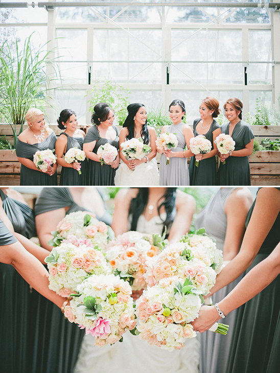 bridesmaids in grey with peach and pink bouquets @weddingchicks
