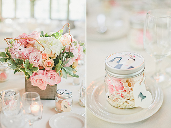 macarons in custom wedding themed jars @weddingchicks