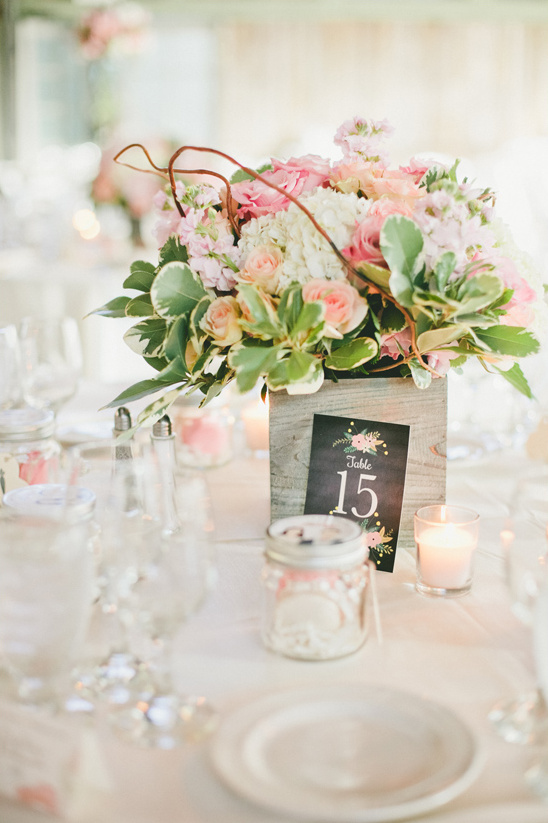 flower box centerpiece and table number @weddingchicks