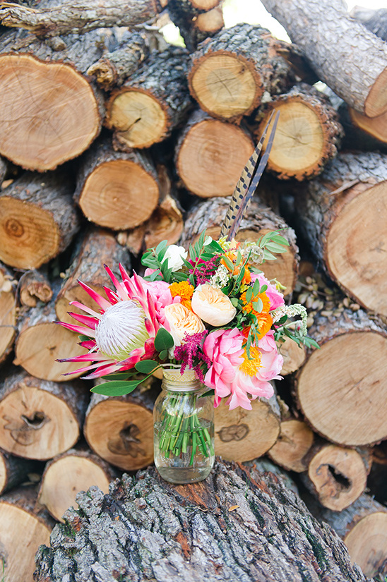 protea and peony bouquet @weddingchicks