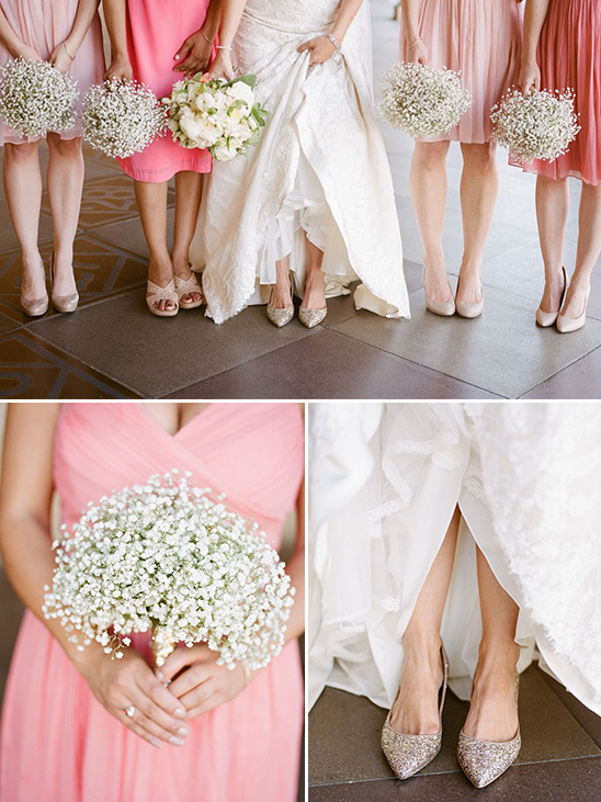 peach bridesmaids with baby breaths bouquets @weddingchicks