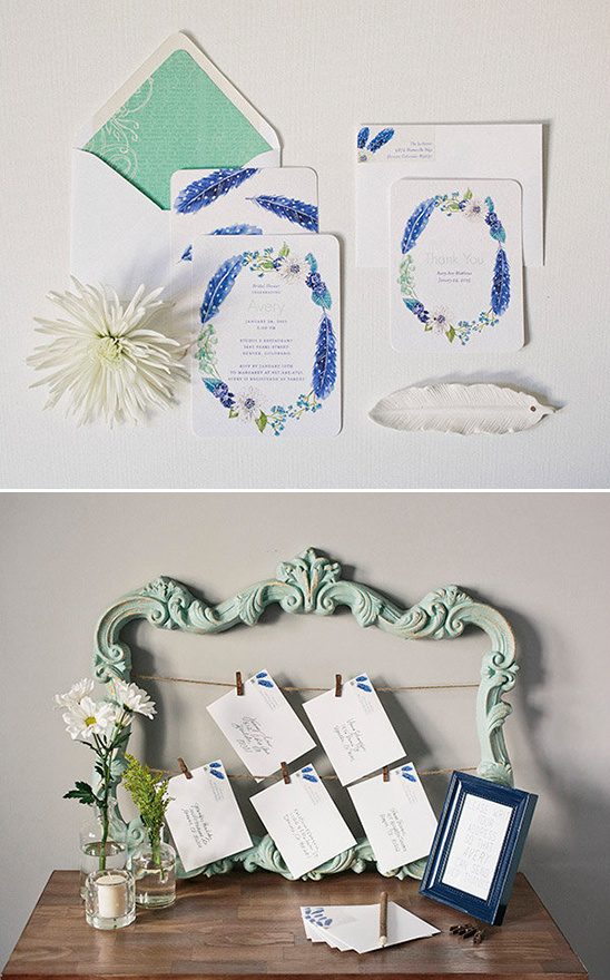 fun feather and flower stationery and thank you display @weddingchicks