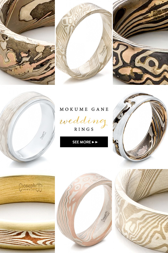 Mokume Gane Engagement Rings from Joseph Jewelry @weddingchicks