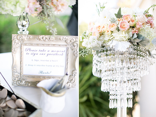 wooden heart guest book sign and flower accented chandeliere @weddingchicks