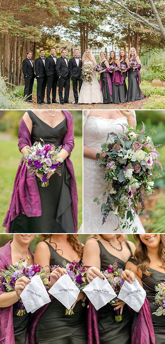 black and deep purple wedding party @weddingchicks