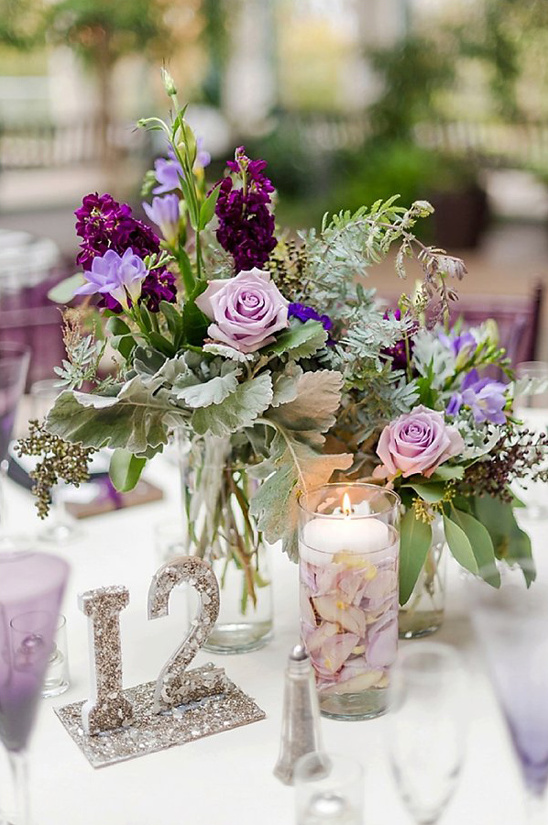 glam purple centerpieces @weddingchicks