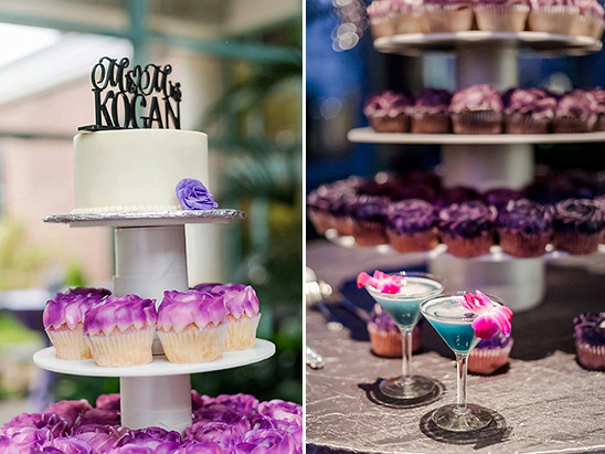 purple cupcakes and blue cocktails @weddingchicks
