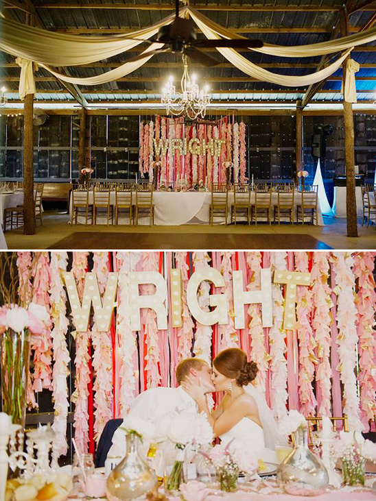 marquee and ribbon backdrop @weddingchicks