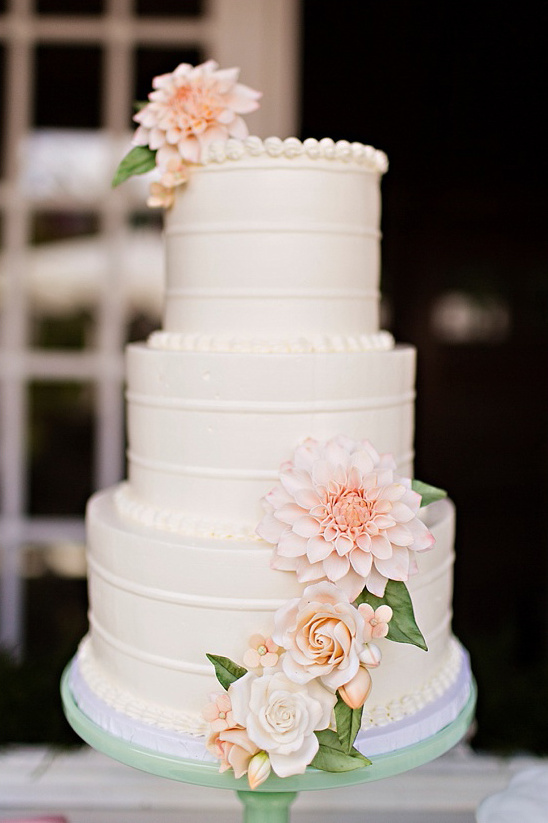 Sugar Flower Accented Wedding Cake Weddings