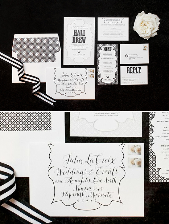 black and white wedding invite @weddingchicks