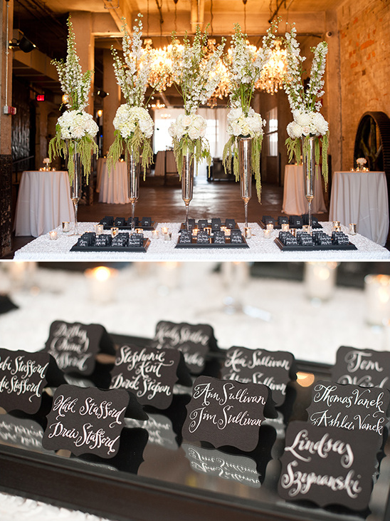 classic black and white escort cards @weddingchicks