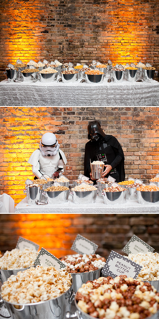 popcorn bar with darth vader @weddingchicks