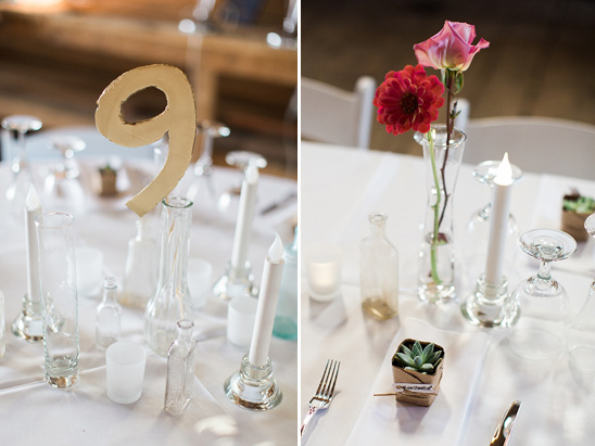 gold table number and bud vase centerpieces @weddingchicks