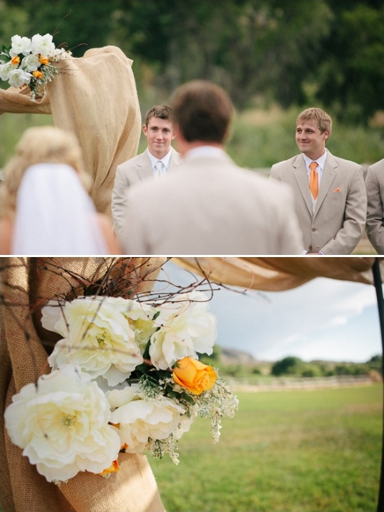 burlap and floral ceremony decor ideas