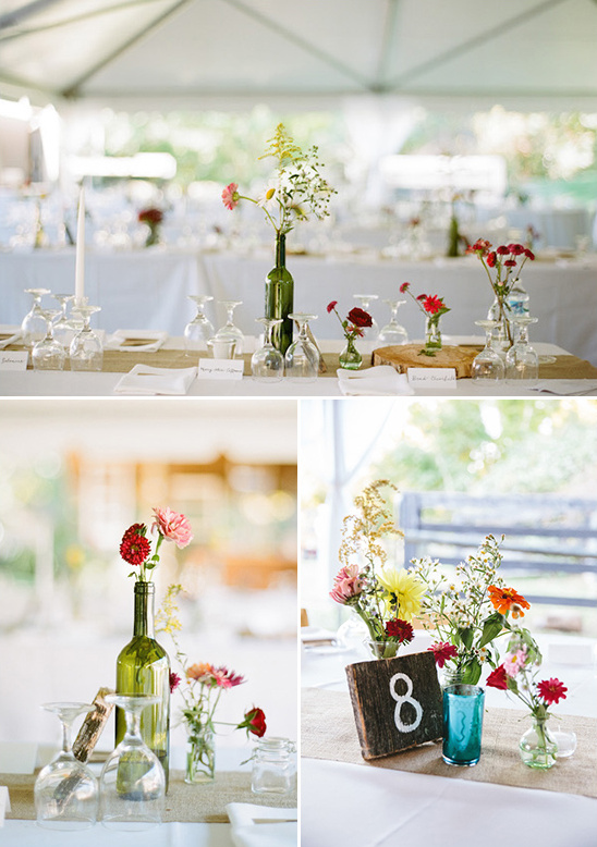 rustic bud vase centerpieces and table numbers @weddingchicks
