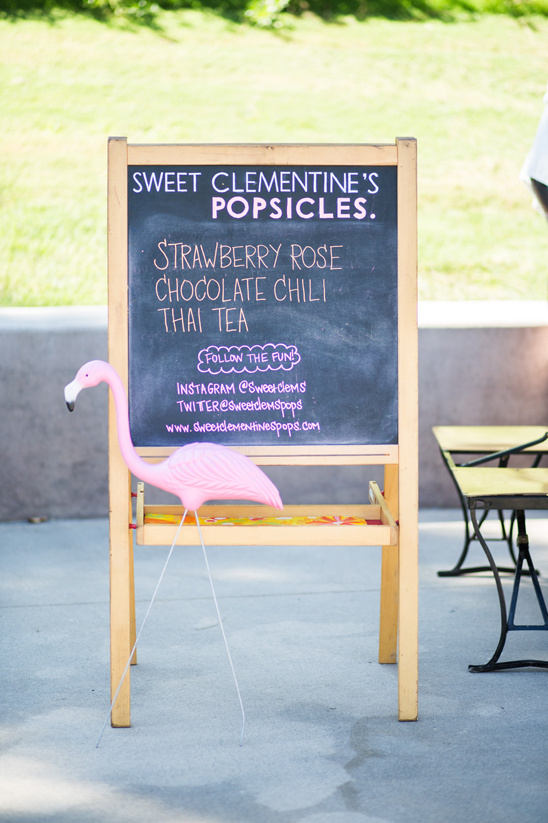 chalkboard popsicle sign @weddingchicks