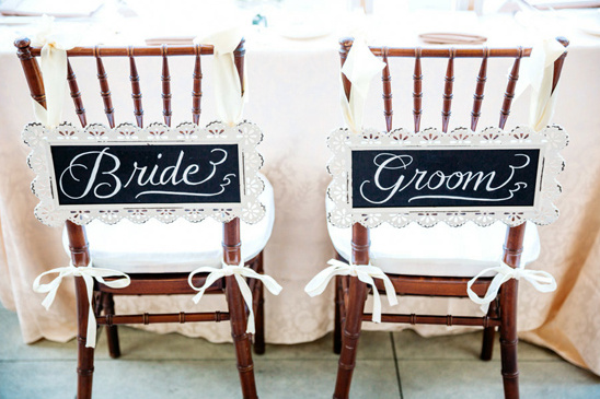 cute chalkboard sign bride and groom seat signs @weddingchicks