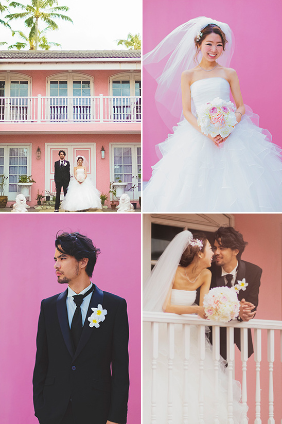 pink bride and groom @weddingchicks