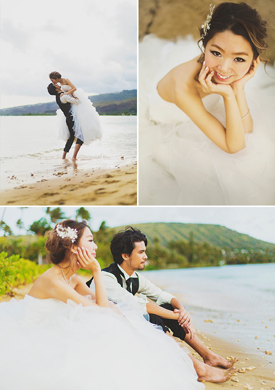 hawaiian beach bride and groom @weddingchicks