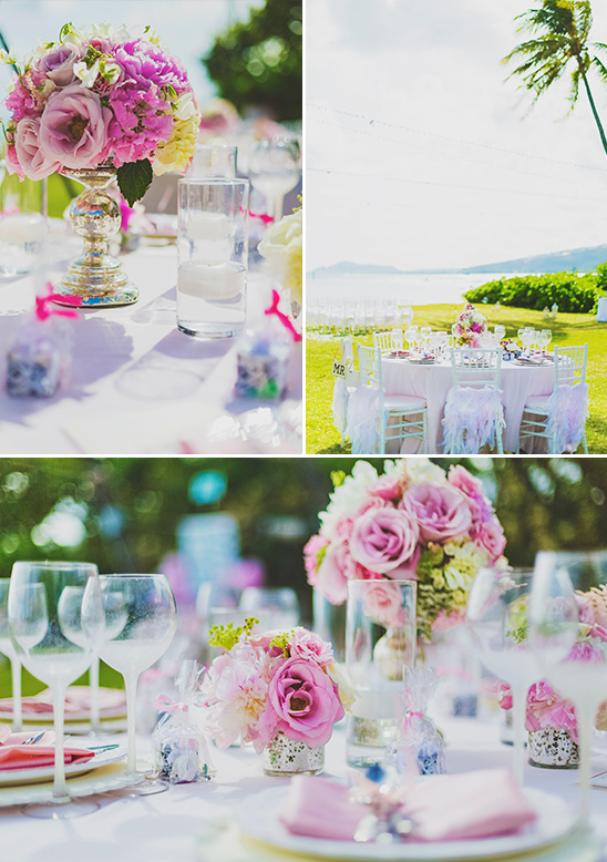 pretty pink wedding table decor @weddingchicks