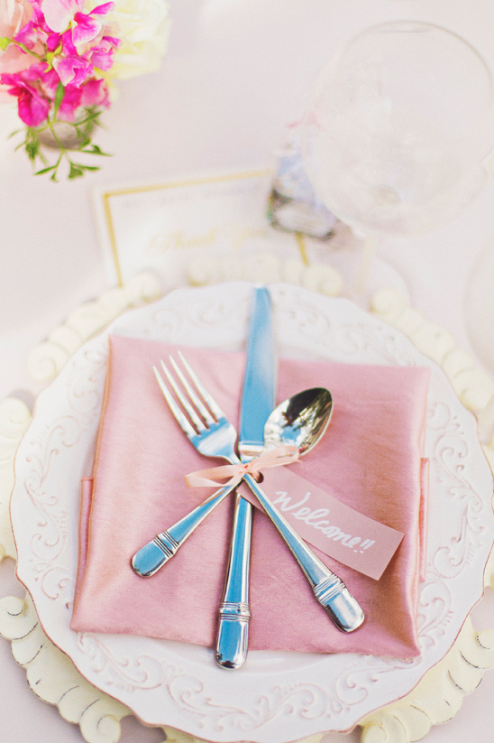 cute pink wedding place setting @weddingchicks