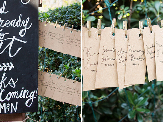 kraft labels and mini gold paper clip escort card ideas @weddingchicks