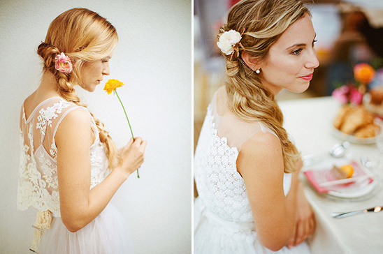 sweet flower accented hair @weddingchicks