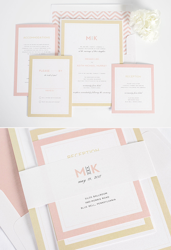 gold and blush wedding invites @weddingchicks