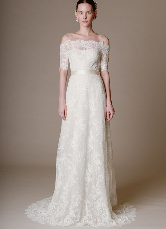 Marchesa off the shoulder lace wedding dress @weddingchicks