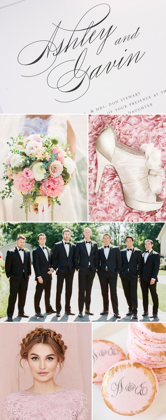 classic pink and black wedding @weddingchicks