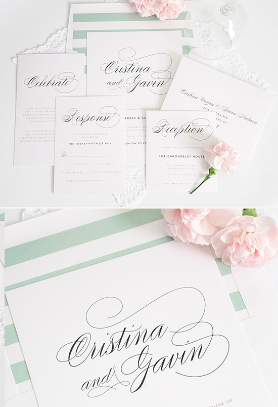 mint wedding invitations @weddingchicks
