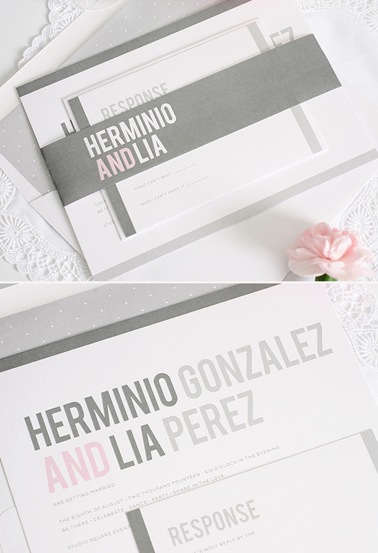 Modern gray wedding invites @weddingchicks