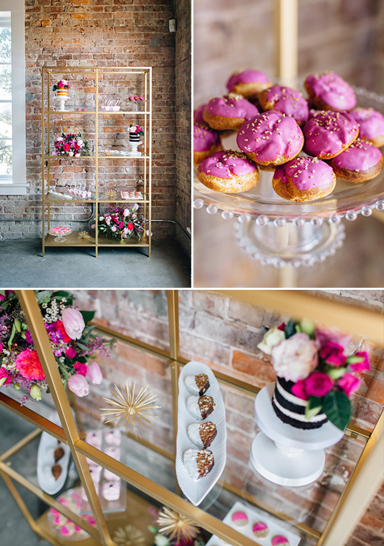 modern book shelf dessert display @weddingchicks