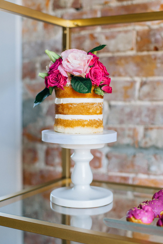 rose topped naked cake @weddingchicks
