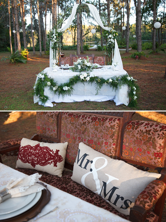 cute sweetheart table with mr and mrs pillow @weddingchicks