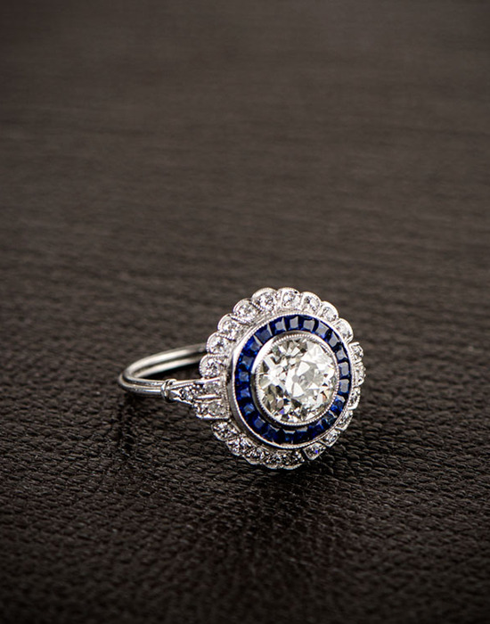 Stunning blue sapphire and diamond engagement ring from Estate Diamond Jewelry. @weddingchicks